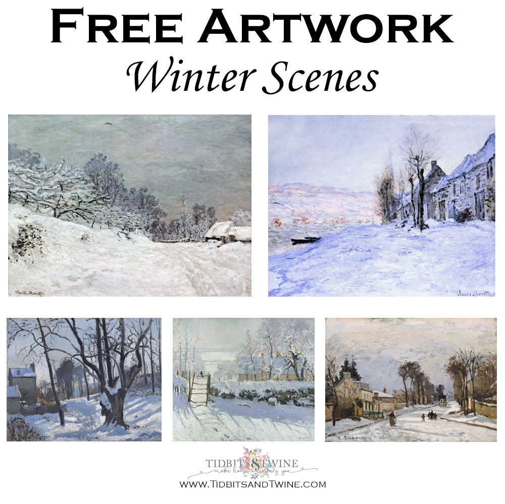 Collage of winter scene artwork that can be digitally downloaded for free