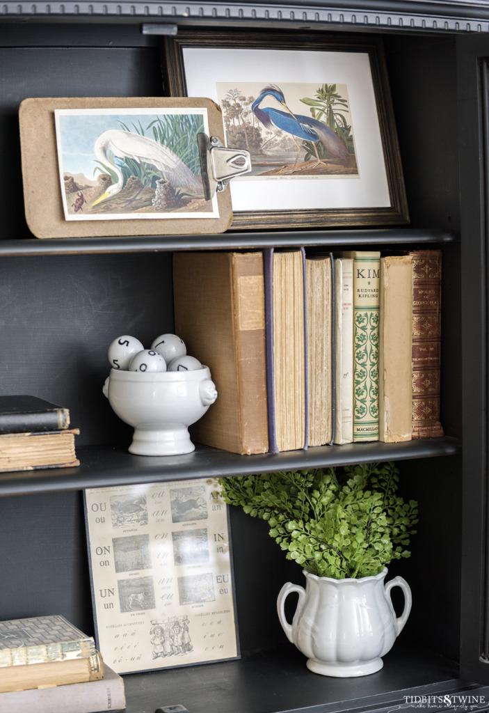 Antique books and frame bird art styled on black French shelves