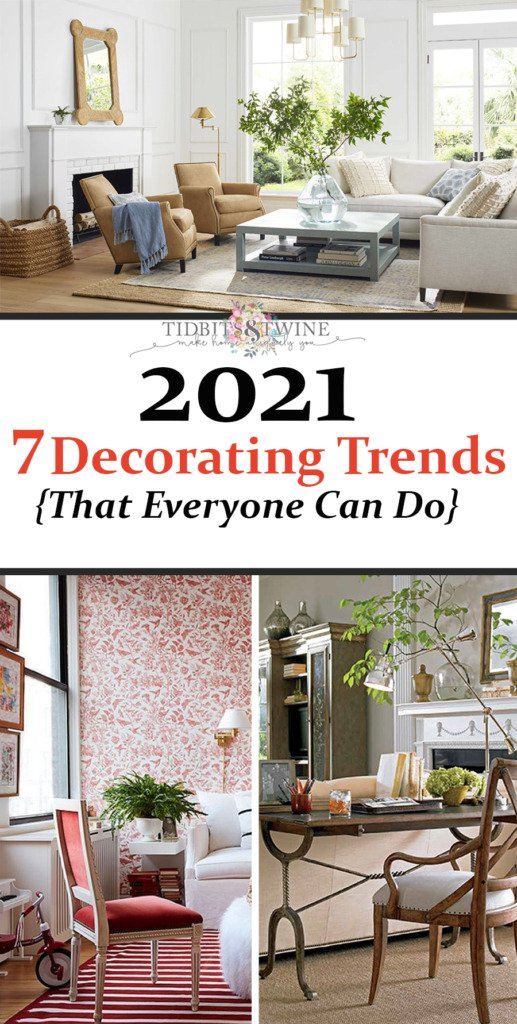 Collage image showing three of the seven decorating trends for 2021 from Tidbits&Twine