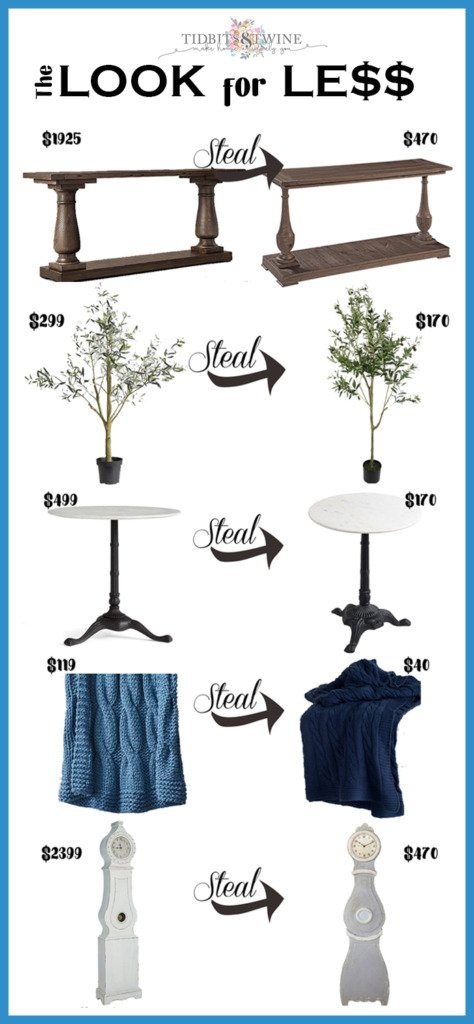 Collage image showing high priced home decor items compared to their lesser priced ones