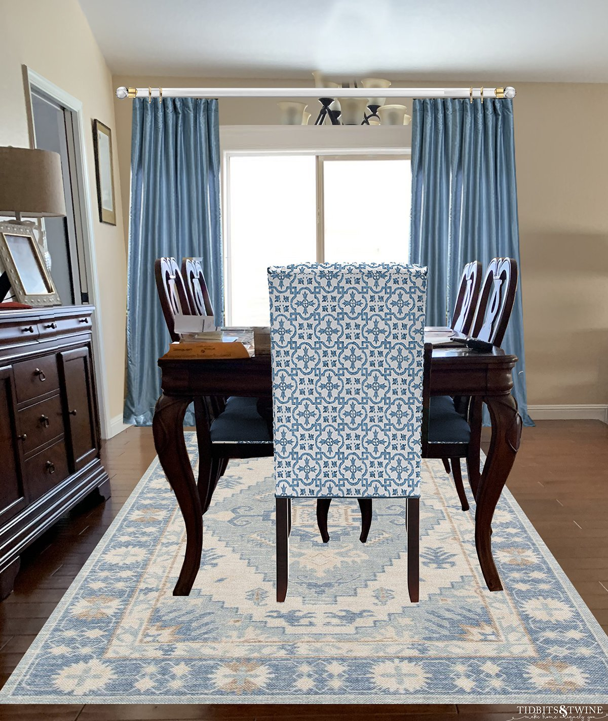 Traditional and contemporary dining room dark queen anne dining table blue silk curtains blue contemporary rug and chair