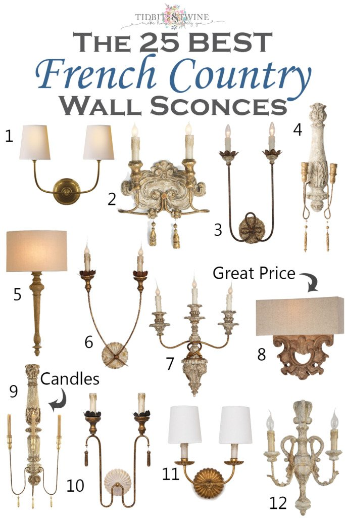 Grouping of 12 French Country wall sconces with inspirational photos and resources