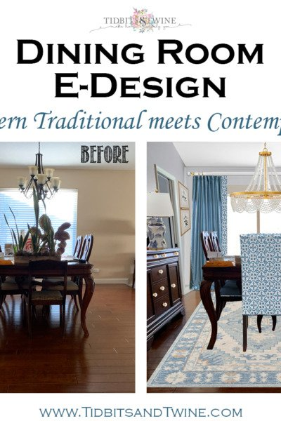 Jill's Dining Room Makeover E-Design: A Mix of Traditional and Contemporary Design