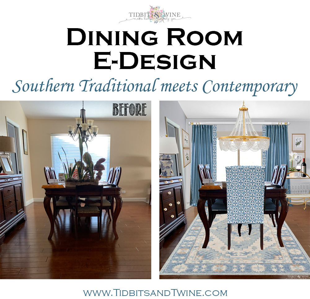 traditional dining room before and mix of traditional and contemporary after with blue accents
