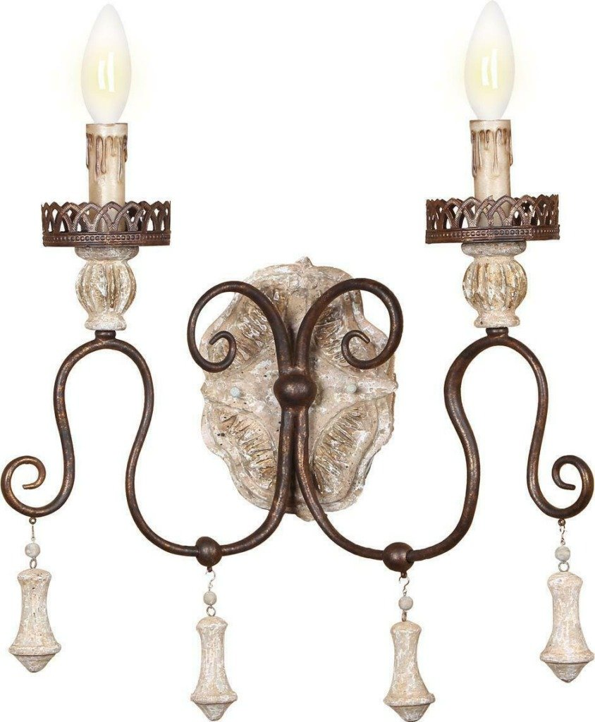 French country sconces with two arms and candle lights santa trinita sconce