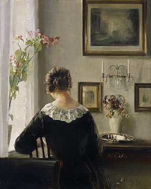 Carll Holsoe painting of woman in black dress with bun at desk writing