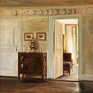Carl Holsoe painting of interior hallway with small side table and plates on wall