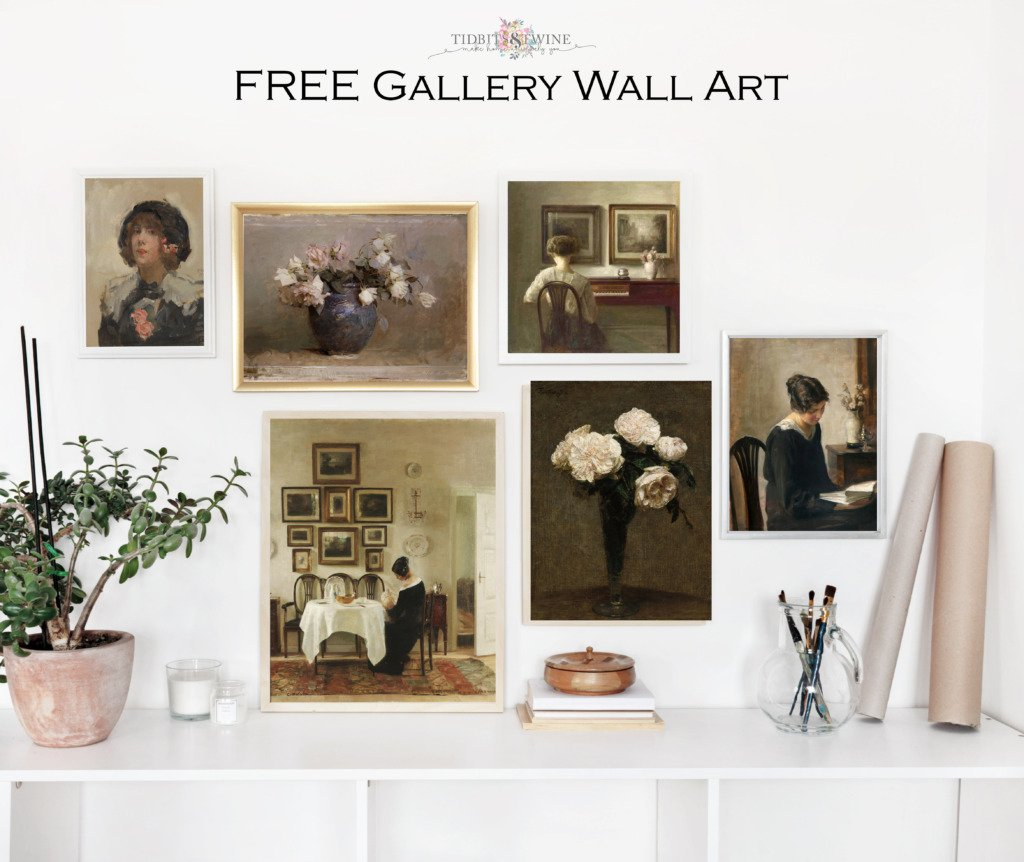 Six framed paintings in a gallery wall using Carl Holsoe art and art of flowers