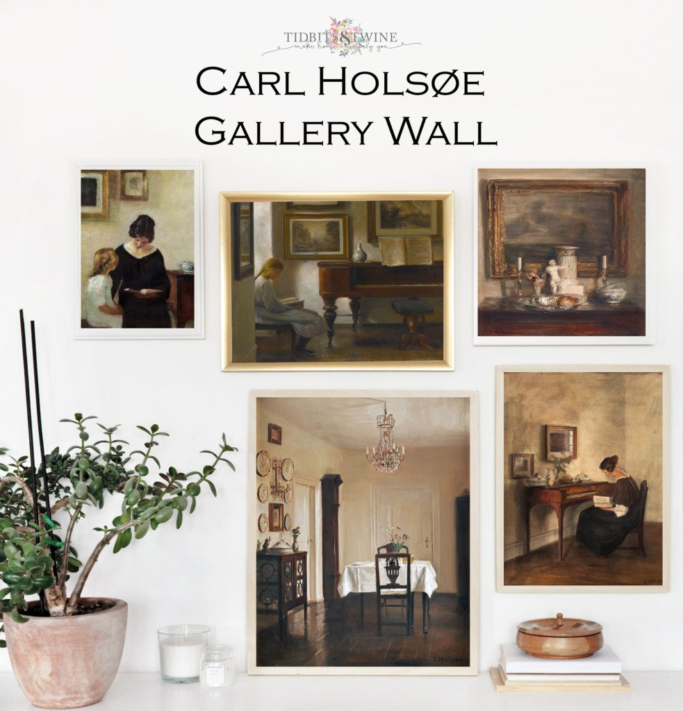 Five framed paintings from Carl Holsoe in a gallery wall above a white cabinet