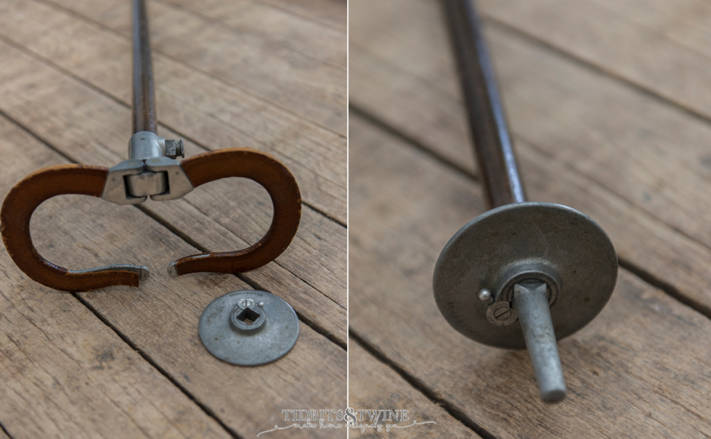 side by side closeup showing how a folding chair gadget cane works
