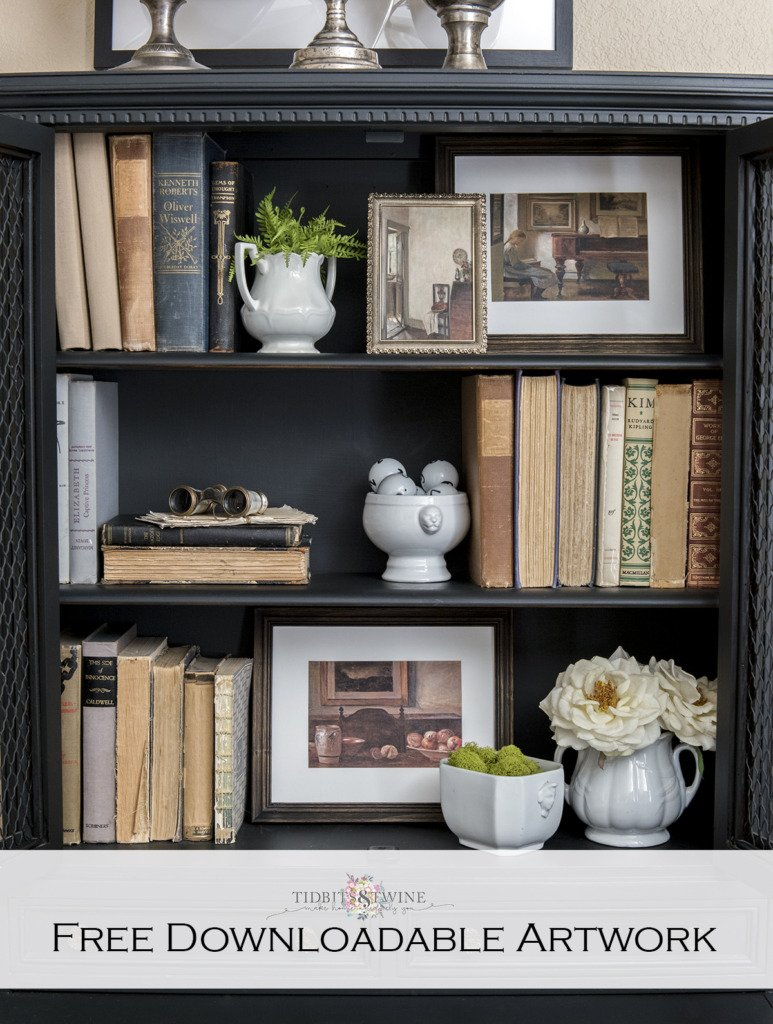 Black cabinet styled with ironstone antique books and free downloadable Carl Holsoe art