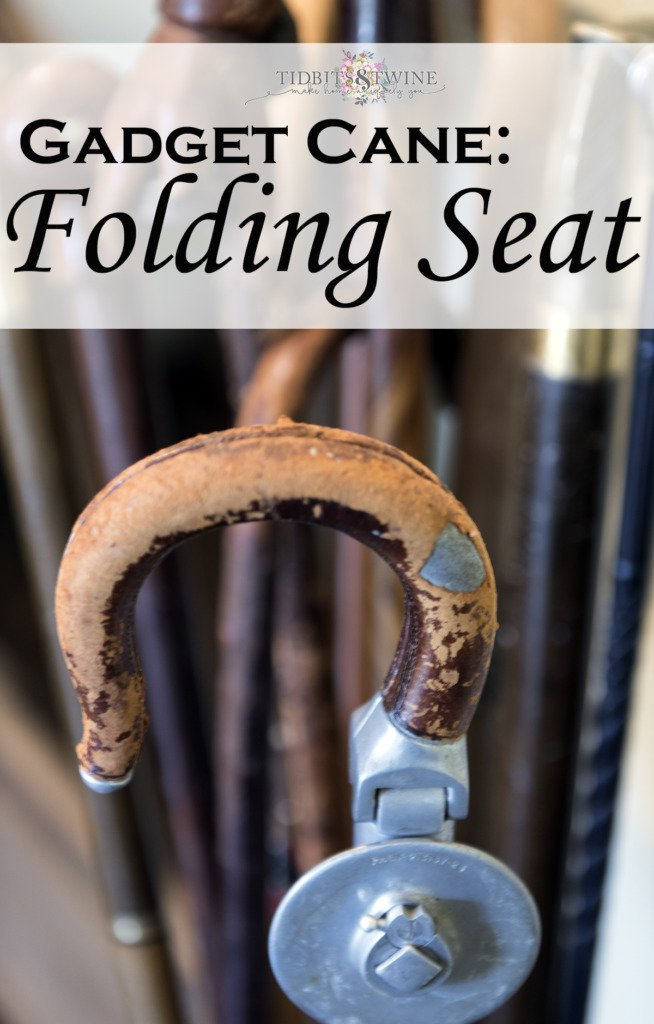 Closeup of folding seat gadget cane handle wrapped leather