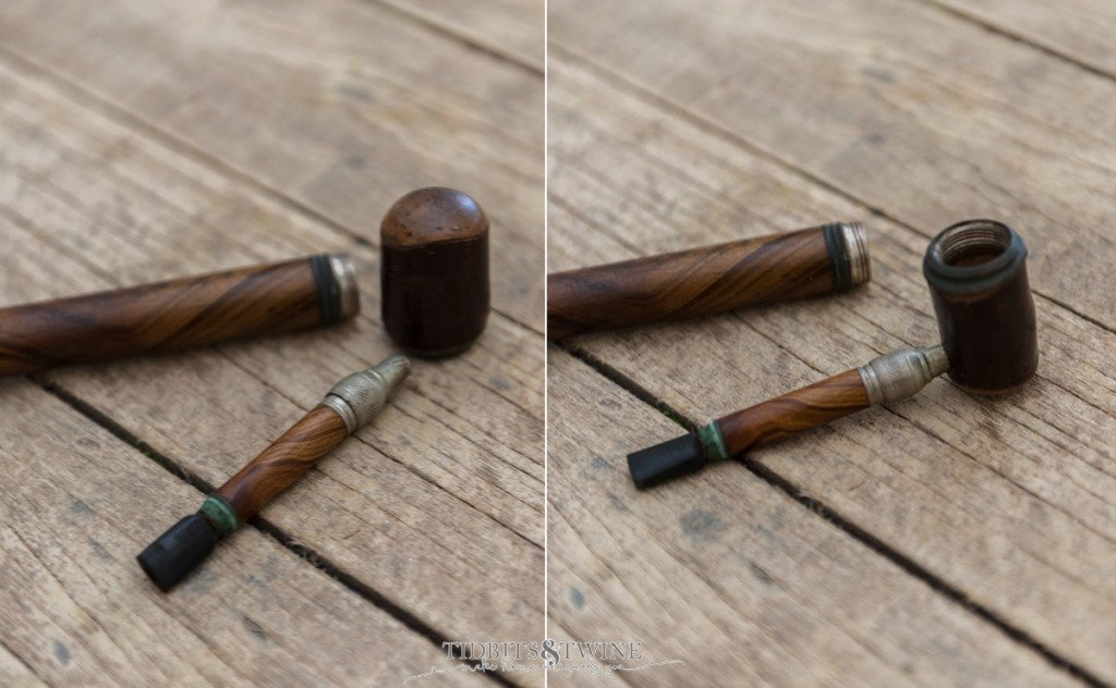 Side by side photos showing how to assemble gadget cane tobacco pipe