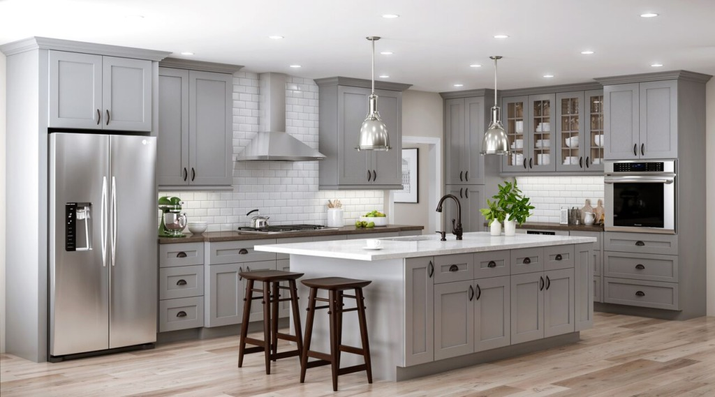 kitchen with gray cabinets with shaker style doors