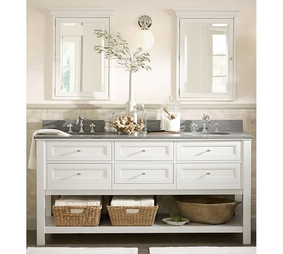 white bathroom double vanity with open storage at the bottom and gray countertop