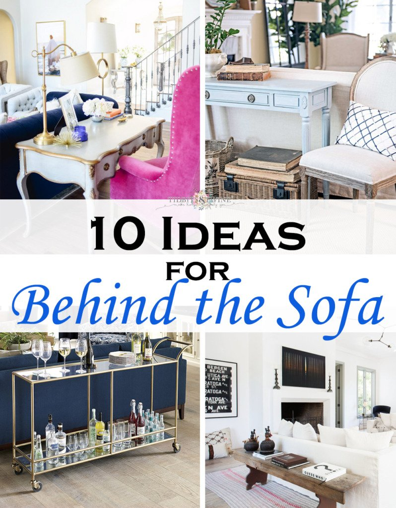 collage of four french living rooms showing ideas for what to put behind a sofa