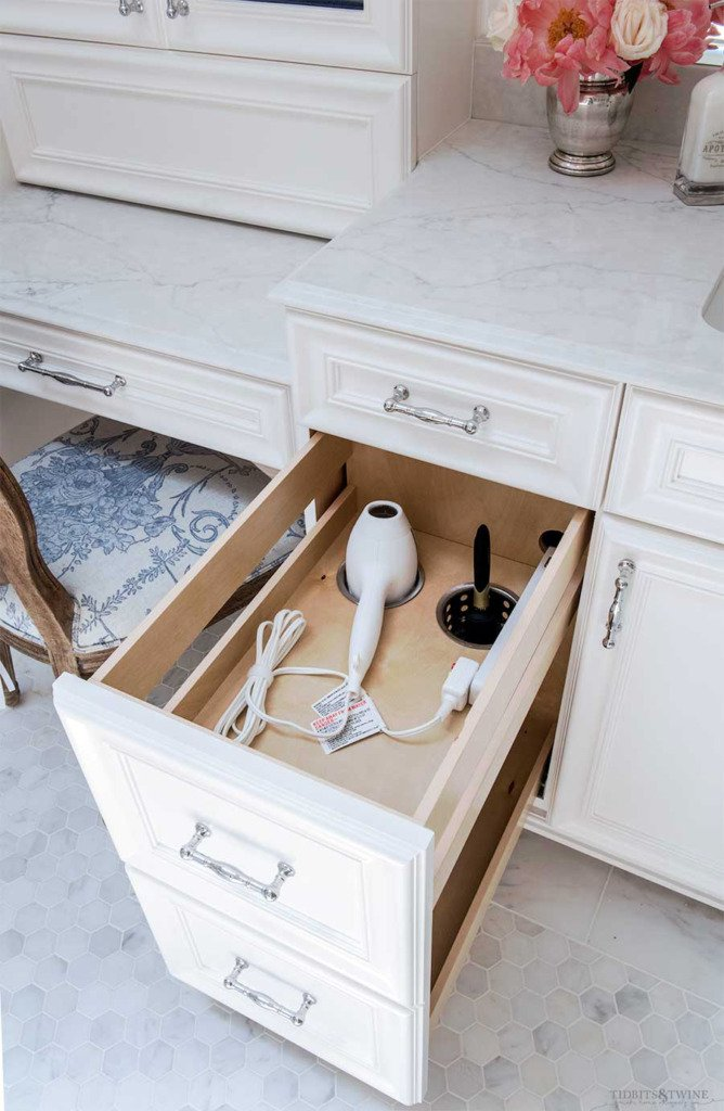 bathroom vanity with pullout drawer for hair dryer
