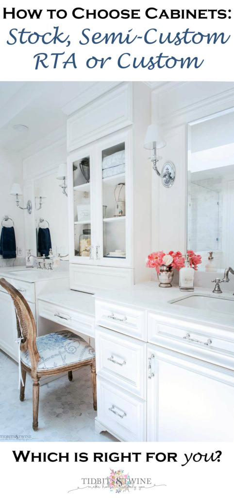White bathroom vanity with makeup area in center and tower