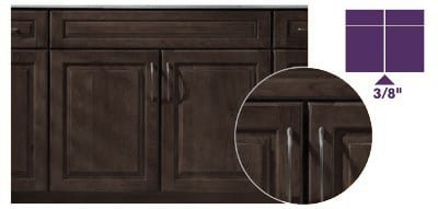 graphic of brown cabinet showing what full overlay doors look like