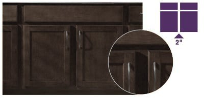 graphic of brown cabinet showing what a partial overlay door looks like