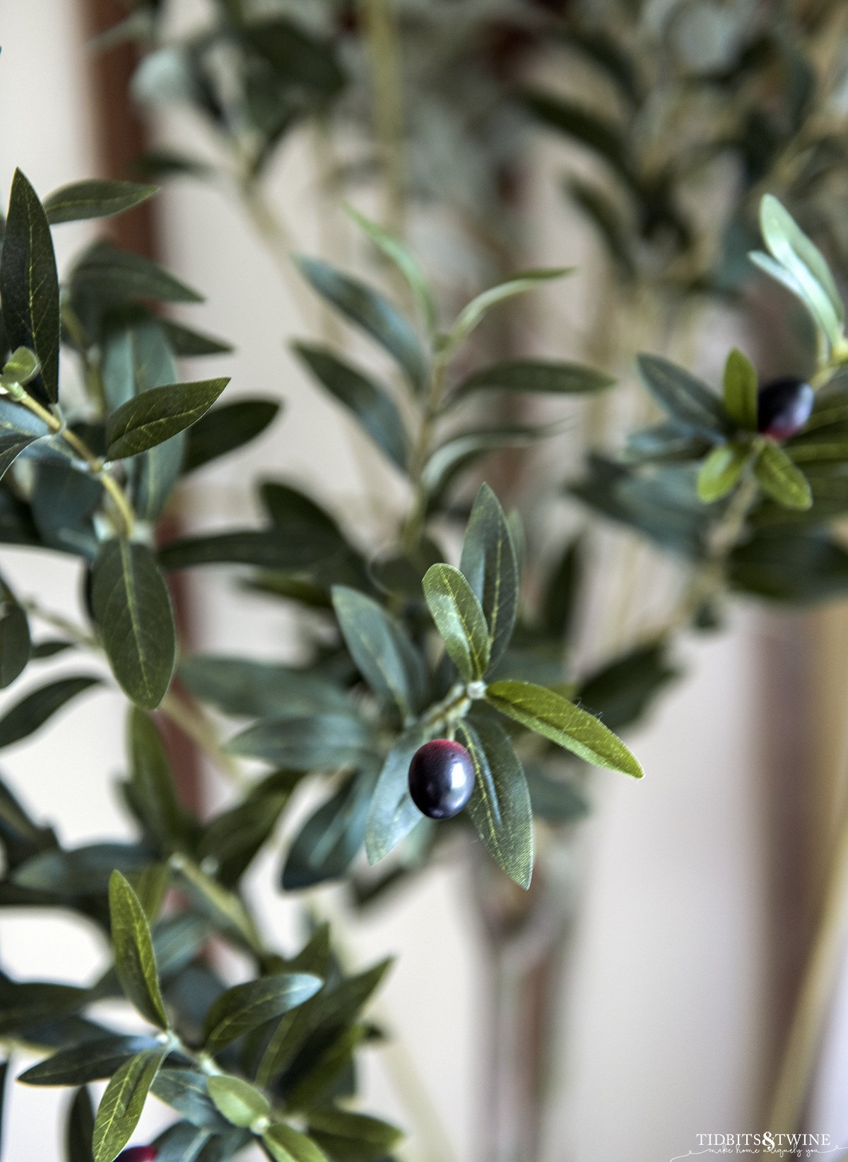 closeup of fake olive tree leaves showing how realistic they look