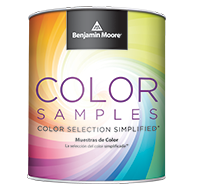 the front of a benjamin moore paint sample can with a rainbow swirl on the front
