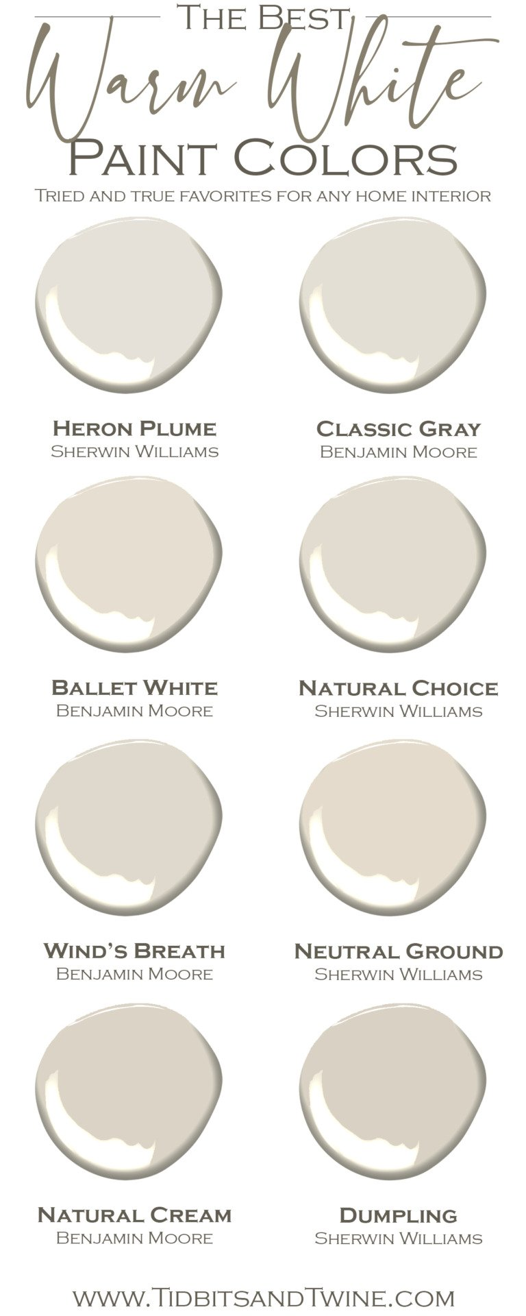 8 Beautiful Warm Whites for Your Home!