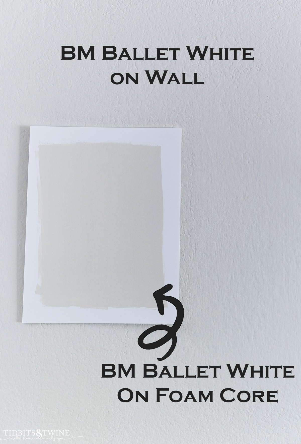 closeup of a wall with benjamin moore ballet white painted on it and a white foam core board with the same paint and the colors look different