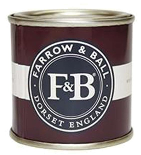 closeup of a farrow and ball paint sample can with burgandy label with white stripe and blue logo