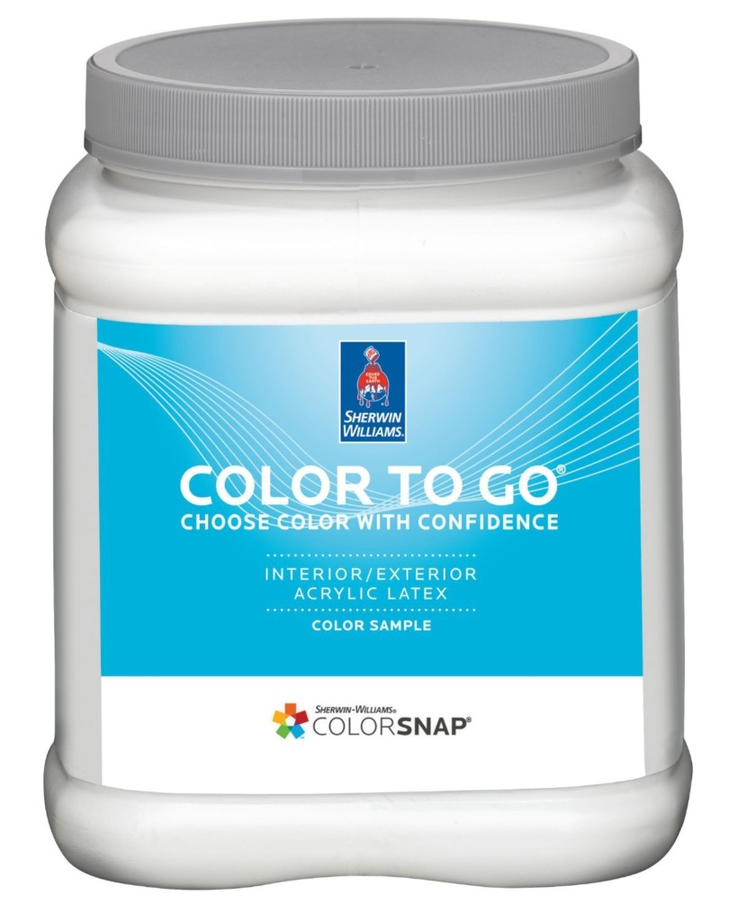 closeup of the sherwin williams paint sample can that is white with a blue label with text that says color to go