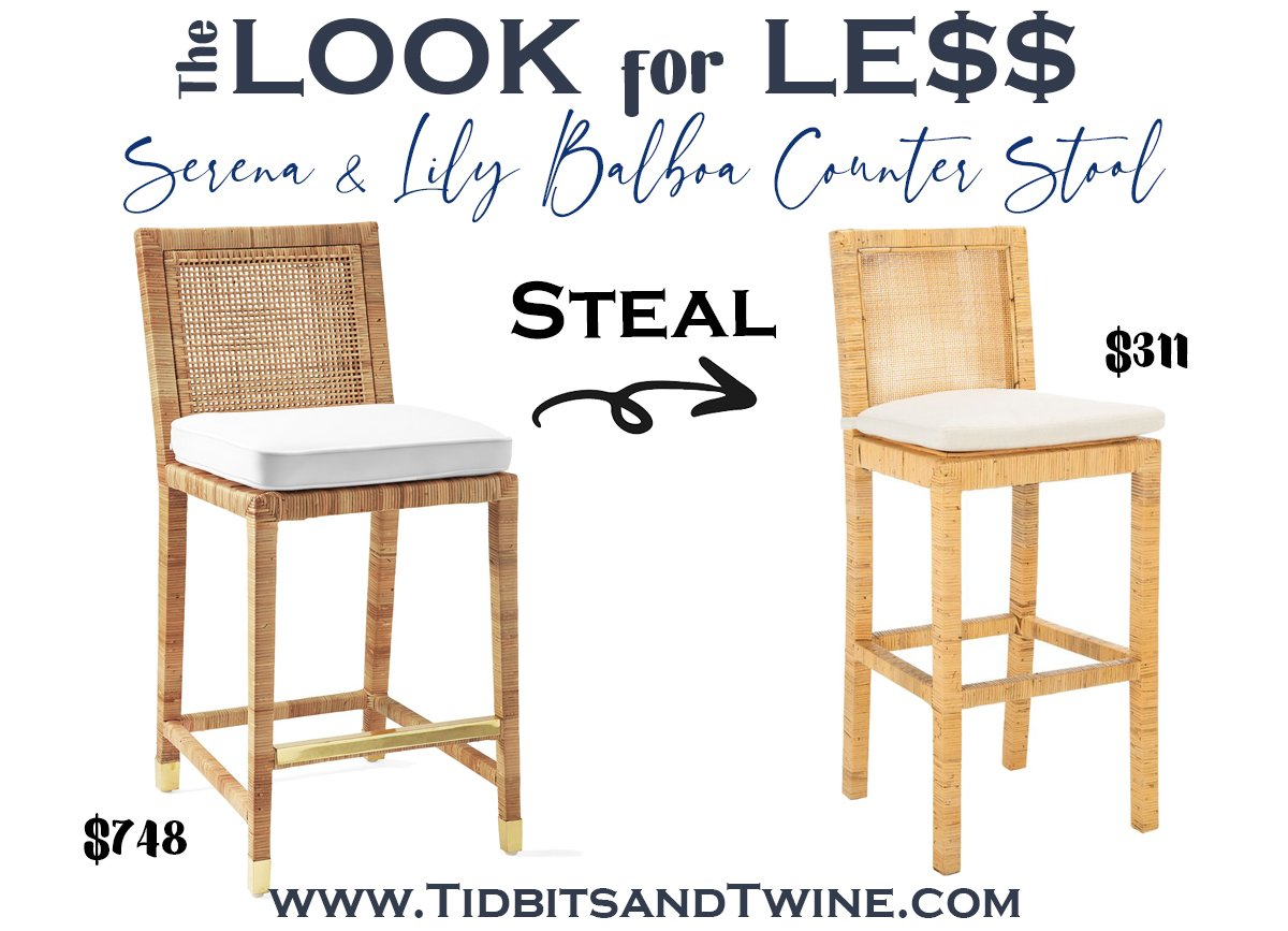 serena and lily rattan mariah counter stool with white cushion and brass leg caps next to a dupe with text overlay saying The Look for Less