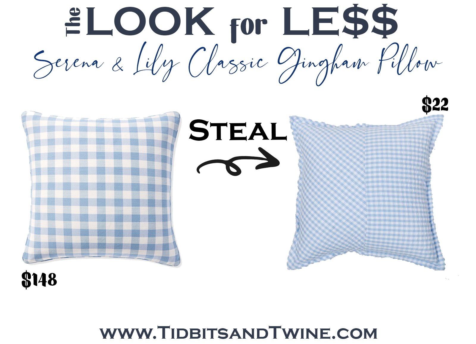 serena and lily blue and white gingham pillow next to a dupe with text overlay saying The Look for Less