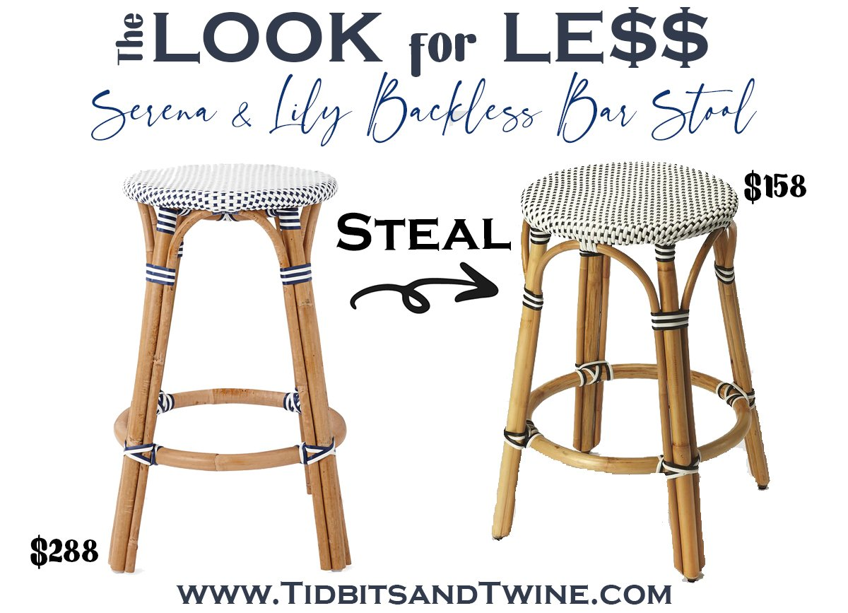serena and lily riviera backless bar stool next to a dupe with text overlay saying The Look for Less