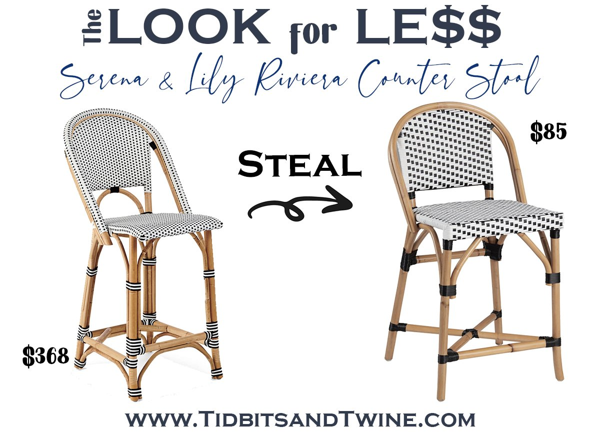 serena and lily riviera bar stool next to a dupe with text overlay saying The Look for Less