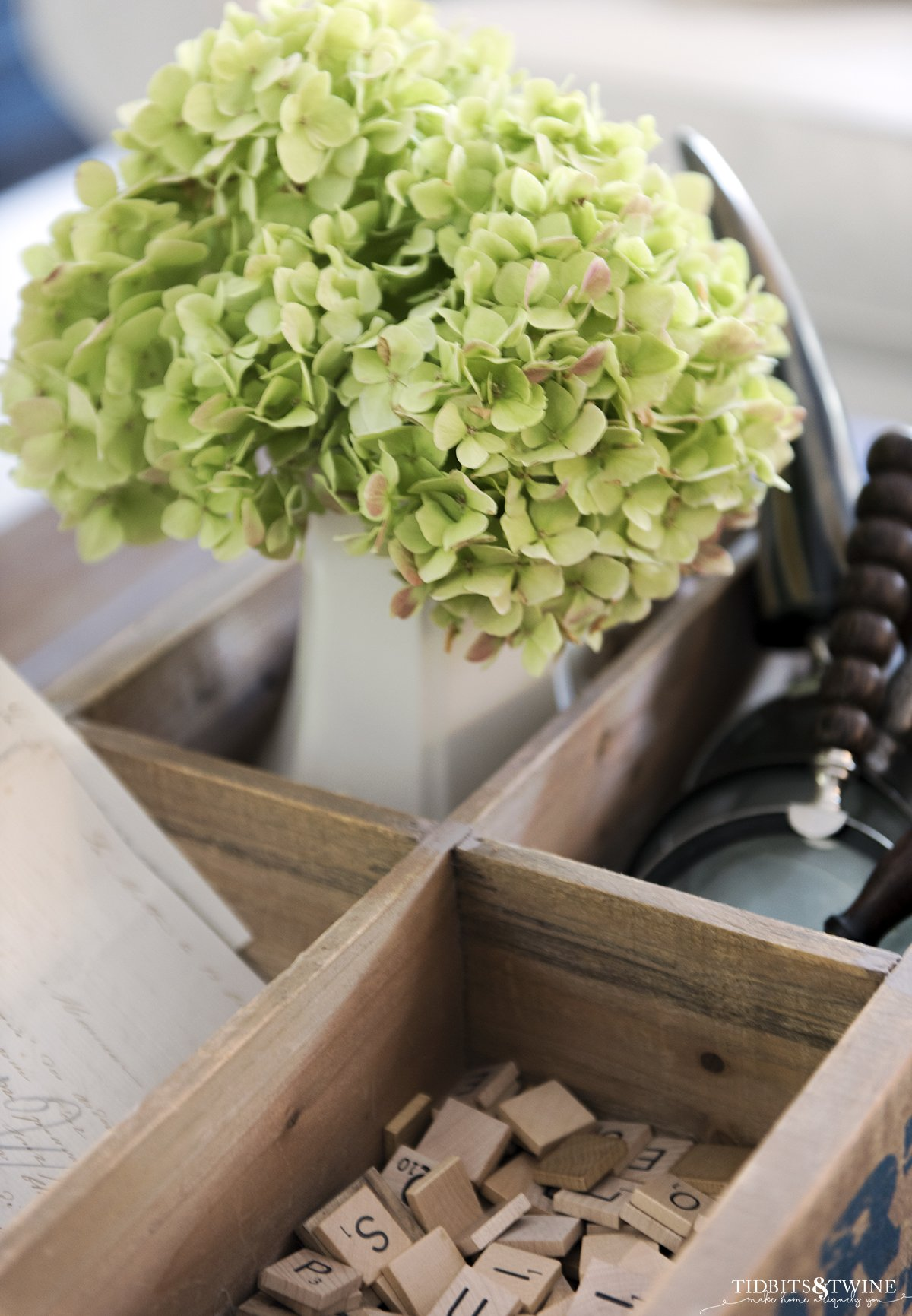 bigleaf hydrangea that has turned green in a vase with magnifying glasses and scrabble tiles as a vignette on coffee table