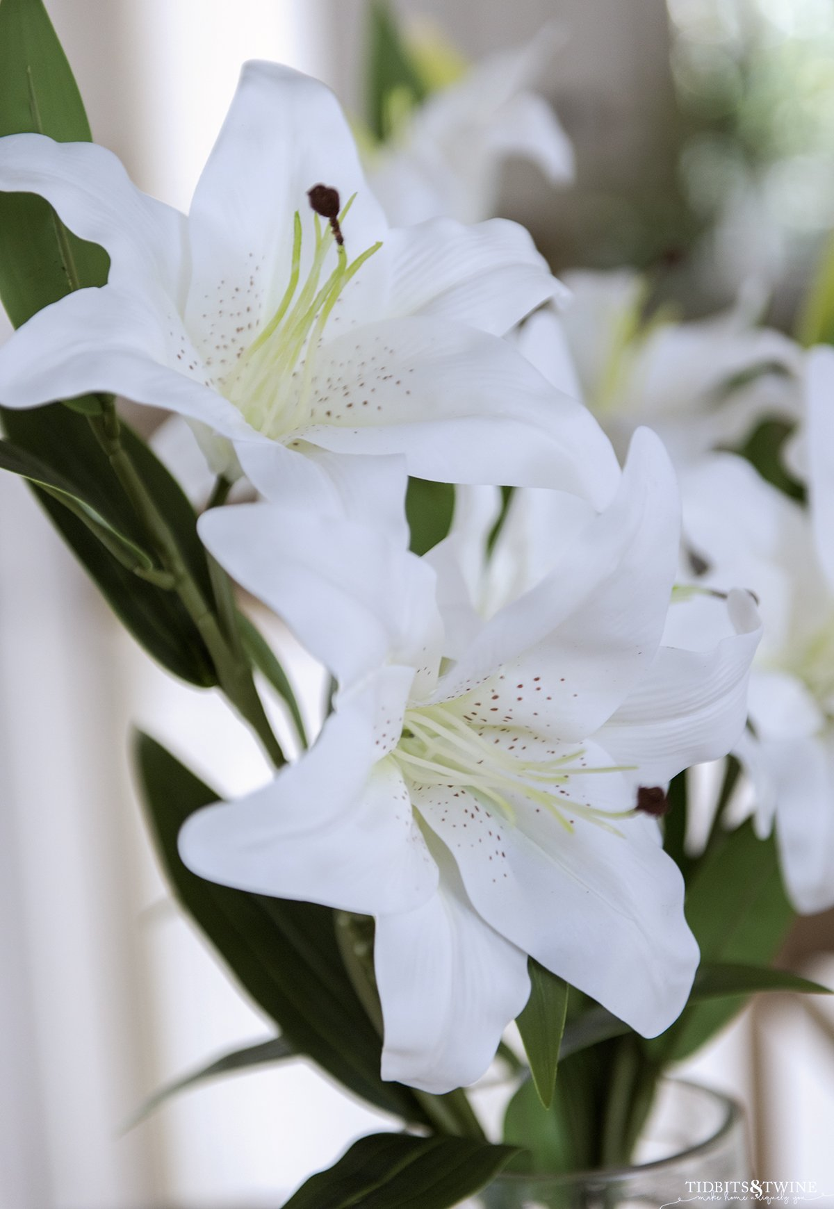 closeup of artificial white lily that looks real showing its petals stamen and pollen and green leaves