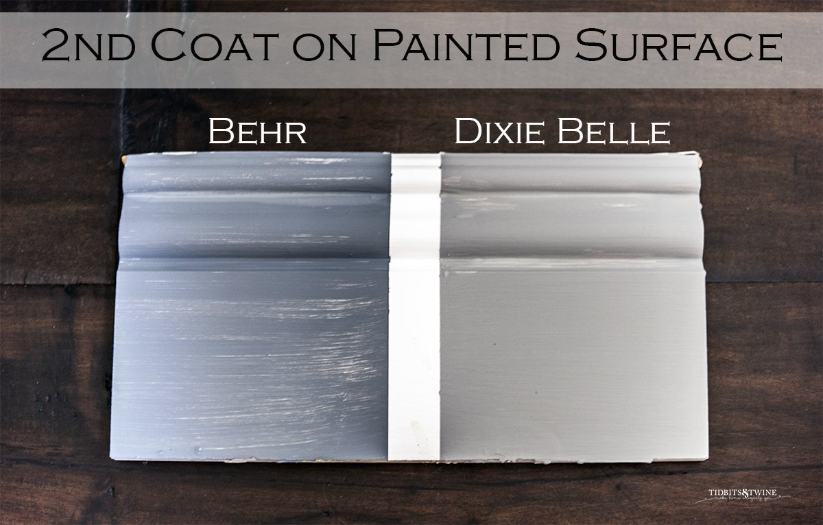 board sectioned in two one painted with behr chalk paint and one dixie belle showing coverage on 2nd coat of paint