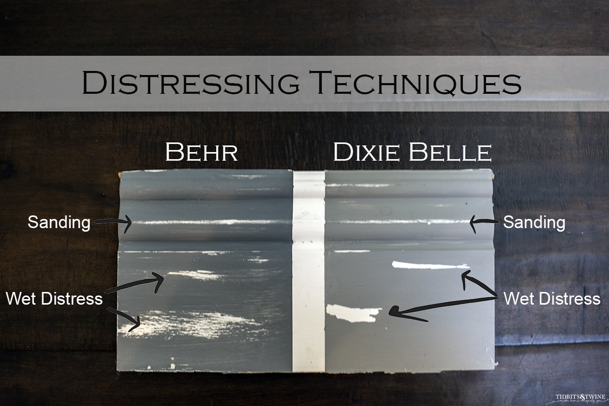 board sectioned in two one painted with behr chalk paint and one dixie belle showing how each looks when sanded or wet distressed
