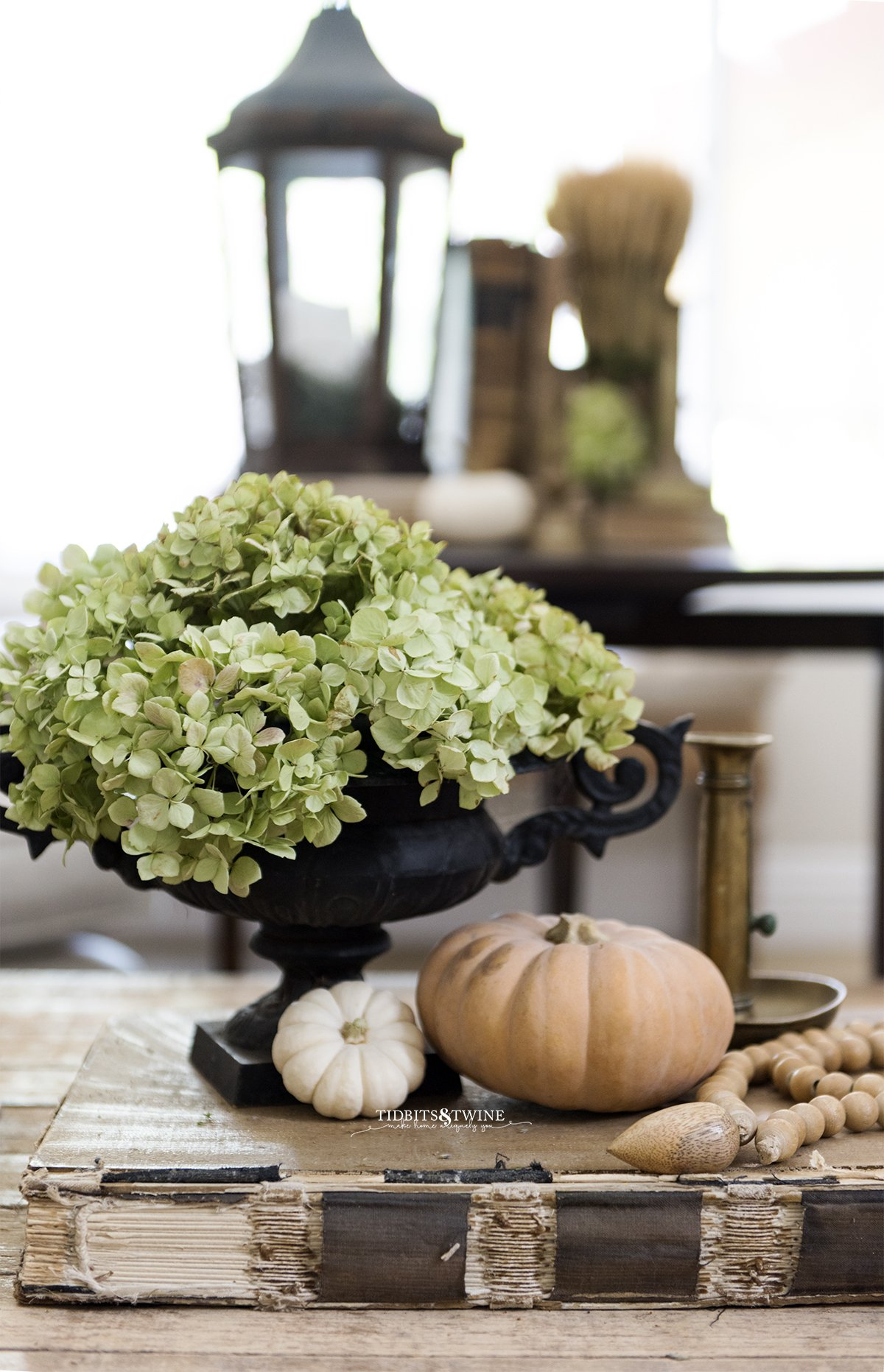 black french urn filled with dried hydrangea with small pumpkins at base on top of old book with table styled for fall in background