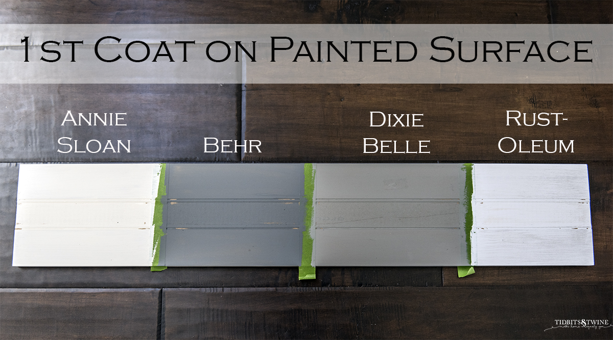 board sectioned into four parts each painted with chalk paint and labels reading annie sloan, behr, dixie belle and rust-oleum
